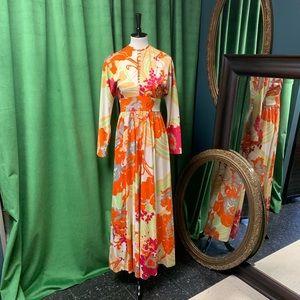 Vtg 70s Don Luis de Espana Floral Maxi Dress Sz 10